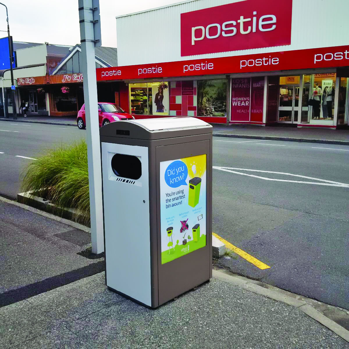 Solar waste bin in Westport, New Zealand