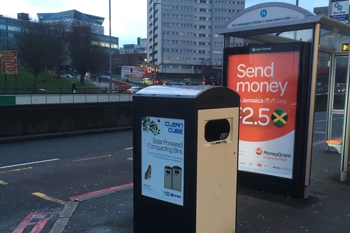 Smart waste bin in Birmingham, UK