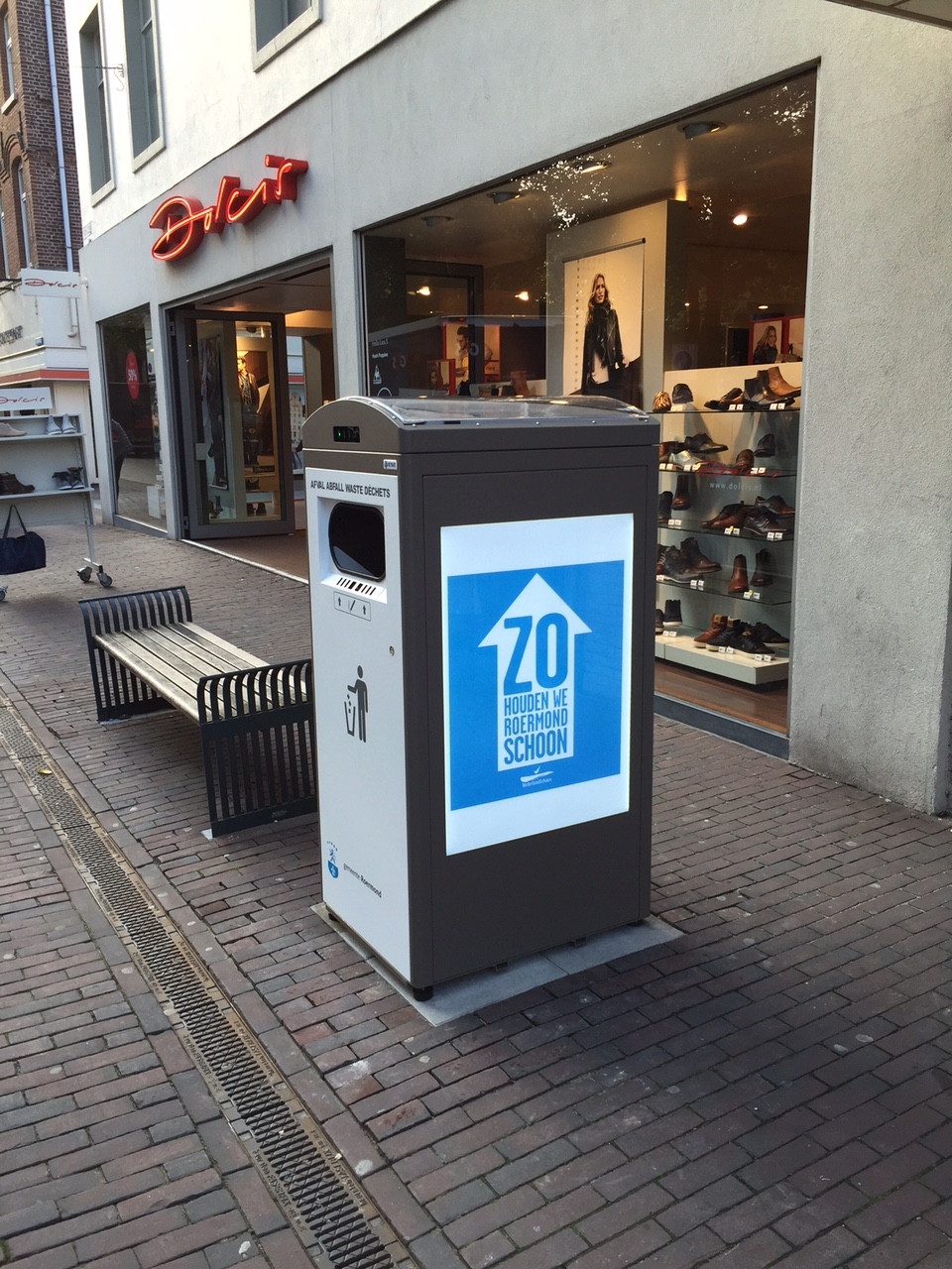Solar-powered garbage compactor in Roermond, Netherlands