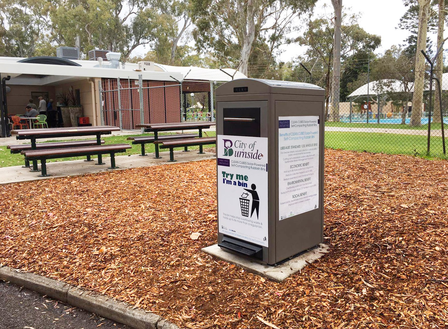 Solar waste compactor in Burnside, Australia
