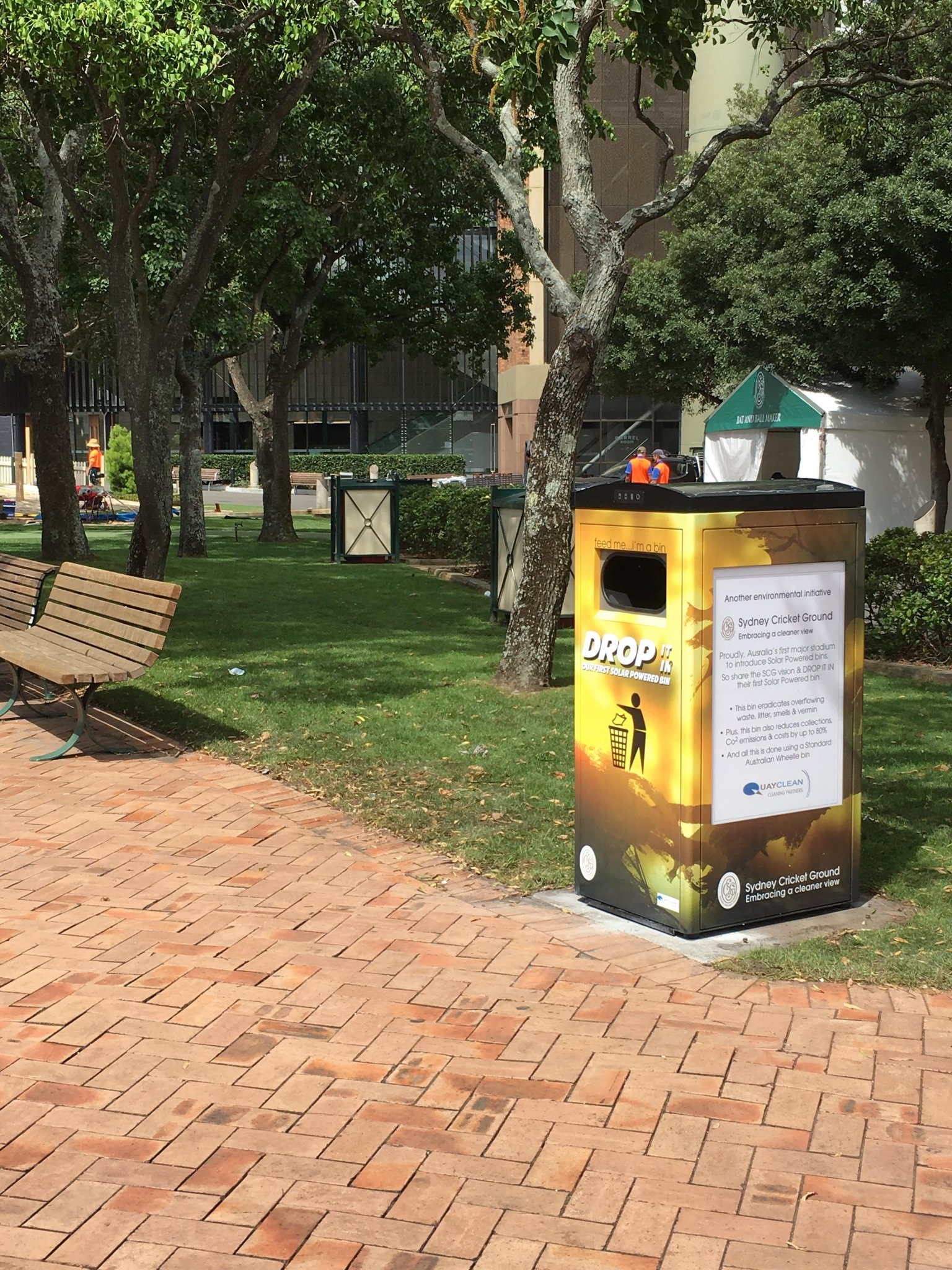 Solar-powered garbage compactor in Sydney, Australia
