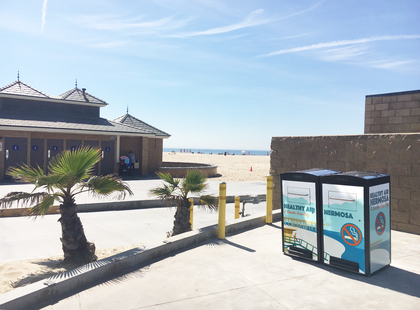 Solar-powered trash compactors at Hermosa Beach, California