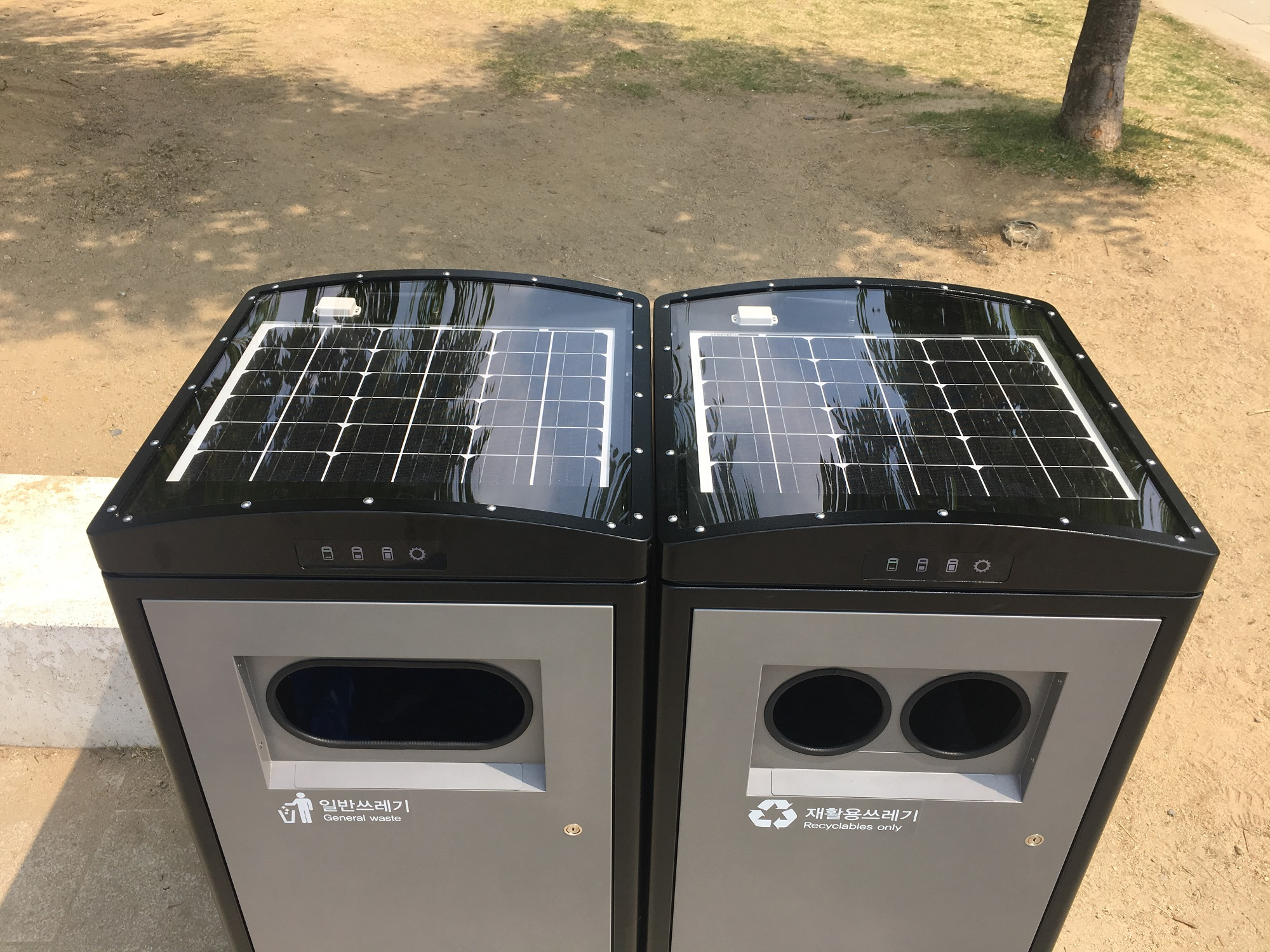 Solar-powered garbage compacting bins in Seoul Zoo