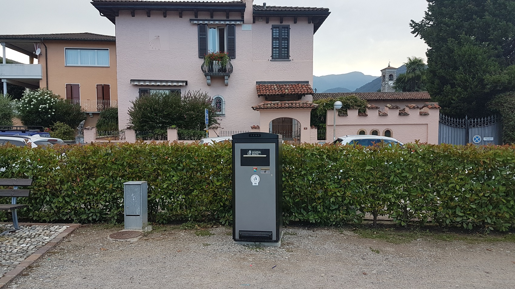 Solar-powered trash compactor bin in Caslano, Switzerland