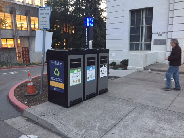 Solar-powered waste compactors at UC Berkeley campus