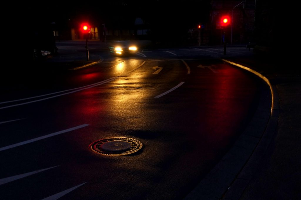 Dark streets late at night when nighttime trash collections may be occurring